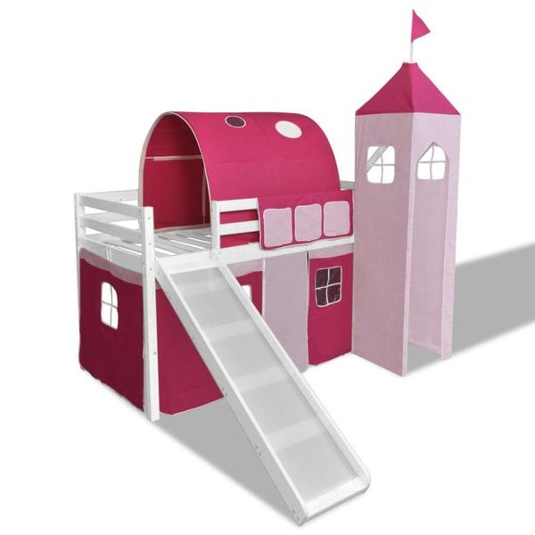 Kinderhoogslaper met glijbaan en ladder hout wit roze