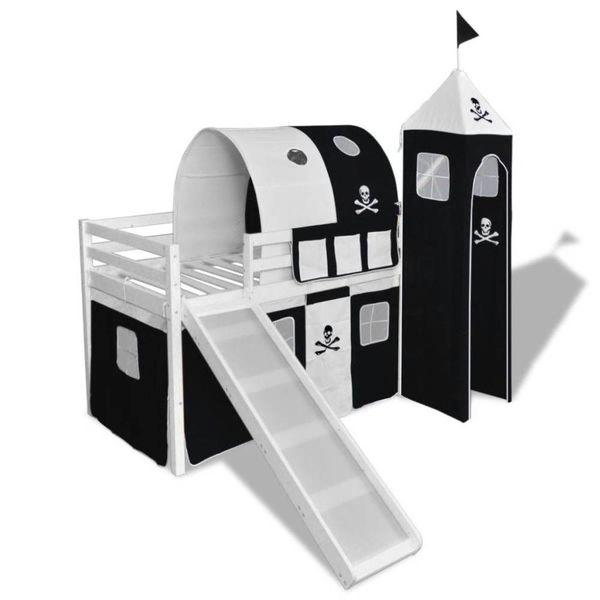 Kinderhoogslaper met glijbaan en ladder wit hout zwart wit