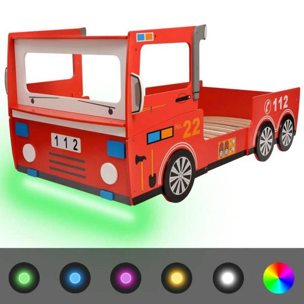 Kinderbed brandweerwagen met LED-verlichting 200x90 cm rood