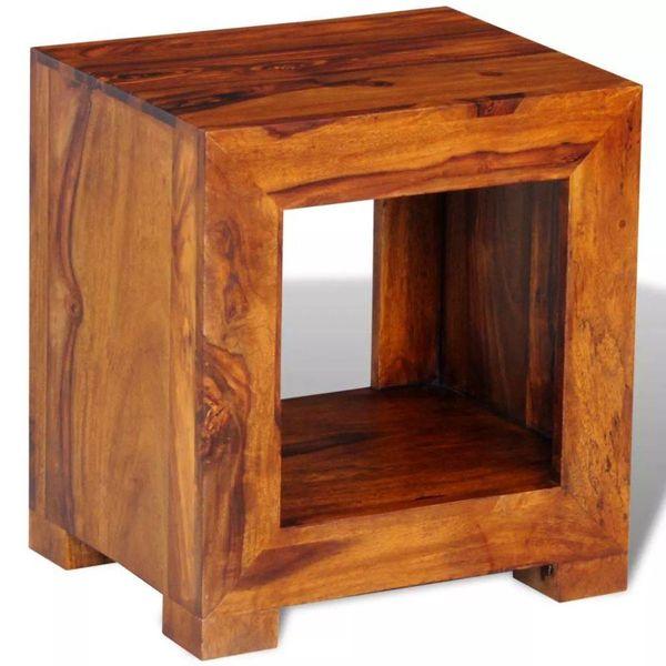 Bijzettafel 37x29x40 cm massief sheesham hout