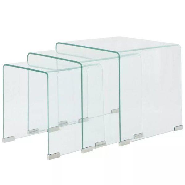 Bijzettafel set 3-dlg transparant gehard glas