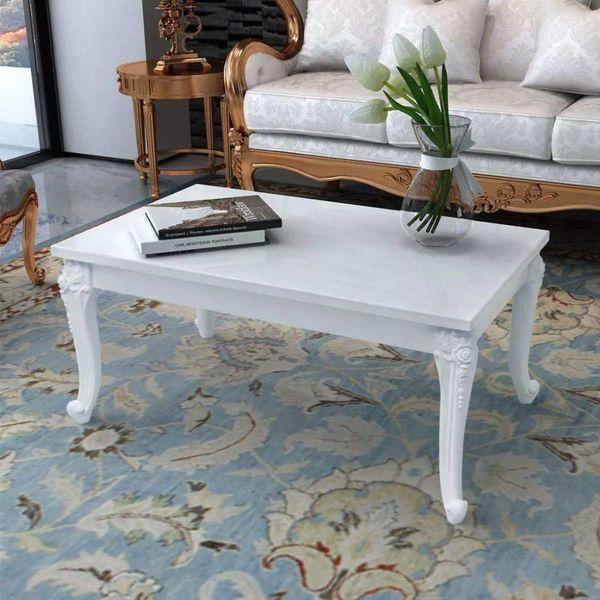 Salontafel 100 x 60 x 42 cm hoogglans wit