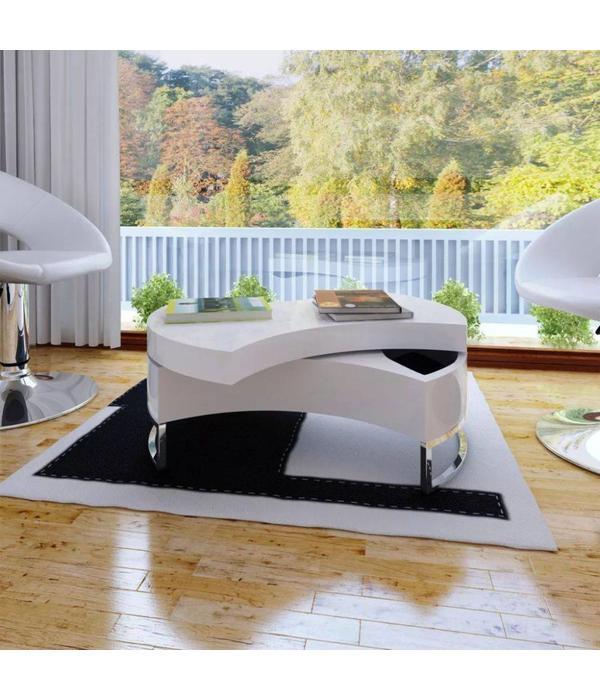 Hoogglans Wit Salontafel Met Opbergruimte.Vidaxl Salontafel Met Aanpasbare Vorm Hoogglans Wit Voordeeltrends