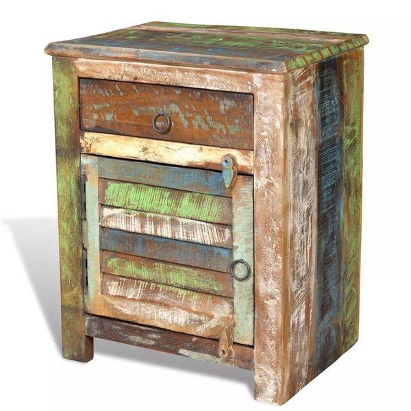 Bijzettafel met 1 lade en 1 deurtje gerecycled hout