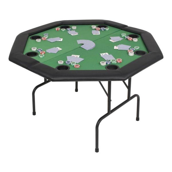 Pokertafel voor 8 spelers achthoekig 2-voudig inklapbaar groen