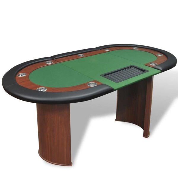 Pokertafel voor 10 personen met dealervak en fichebak groen