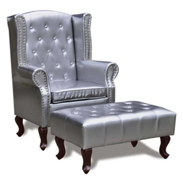 Chesterfield fauteuil met hocker (zilver)