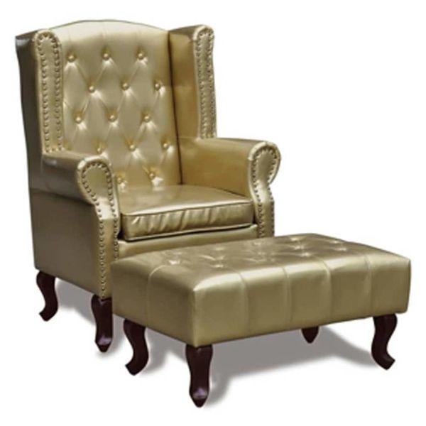 Chesterfield fauteuil met hocker (goud)
