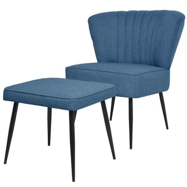 Cocktail stoel met voetenbank stof blauw