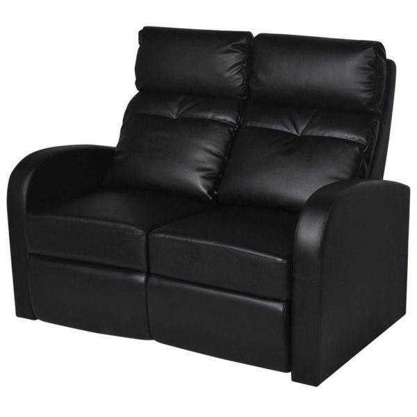 Dubbele relaxfauteuil zonder middenleuning kunstleer zwart