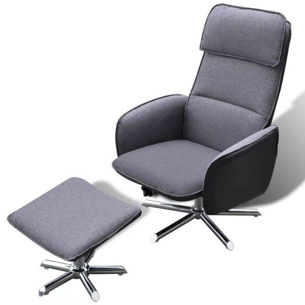 Comfortabele fauteuil + voetenbankje (grijs)