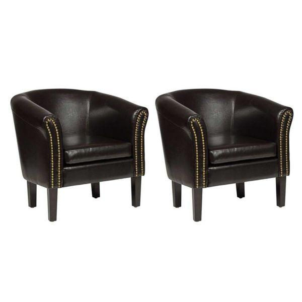 Chesterfield stoelen bruin (set van 2)