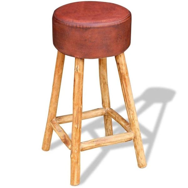 Barkruk echt leder bruin en natuurlijk hout 35x78 cm