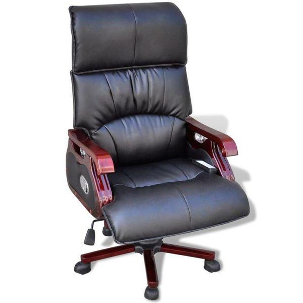 Luxe lederen bureaustoel met 9 massagefuncties (zwart)