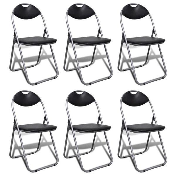 Klapstoel met stalen frame zwart 6 st