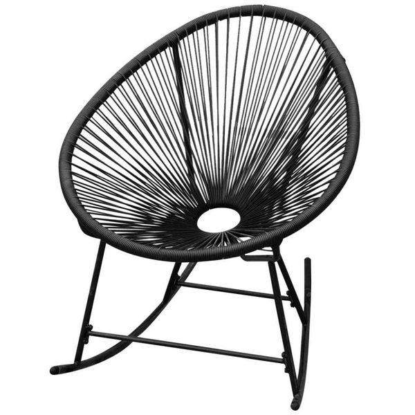Schommelstoel voor in de tuin zwart poly rattan