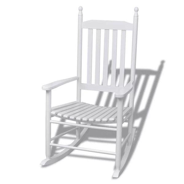 Schommelstoel met kromme zitting hout wit
