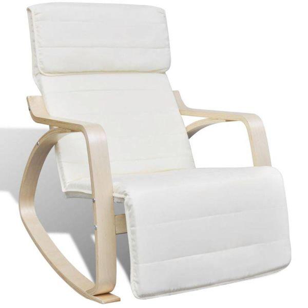 Schommelstoel met houten frame verstelbaar crème