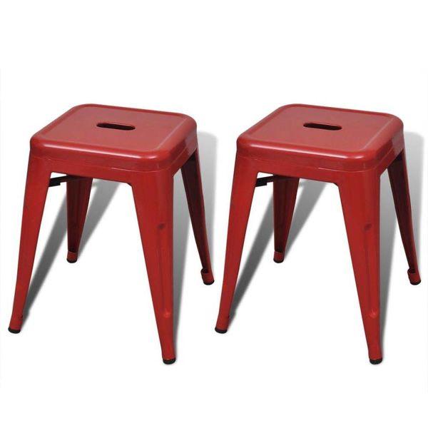 Krukken stapelbaar metaal rood 2 st