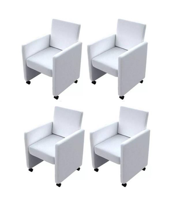 Vier Eetkamerstoelen Op Wieltjes.Vidaxl Eetkamerstoelen Met Wieltjes Kunstleer Wit 4 St Voordeeltrends