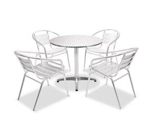 Vidaxl tuinset ronde tafel en stapelbare stoelen aluminium delig