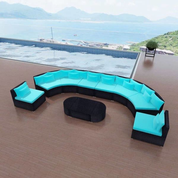 11-delige Loungeset met kussens poly rattan blauw