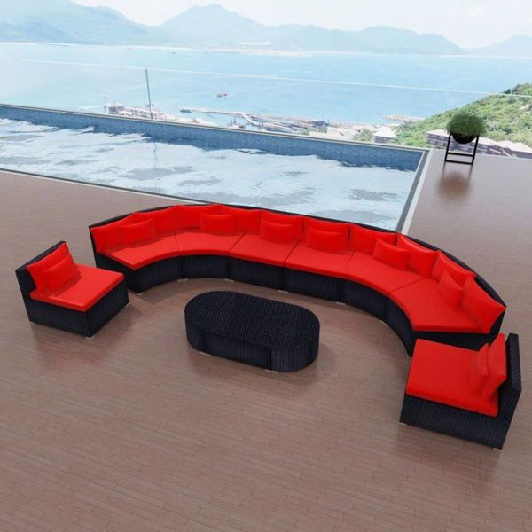 11-delige Loungeset met kussens poly rattan rood