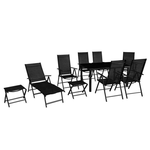 10-delige Tuinset aluminium zwart