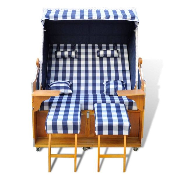 2-zits strandkorf blauw-wit