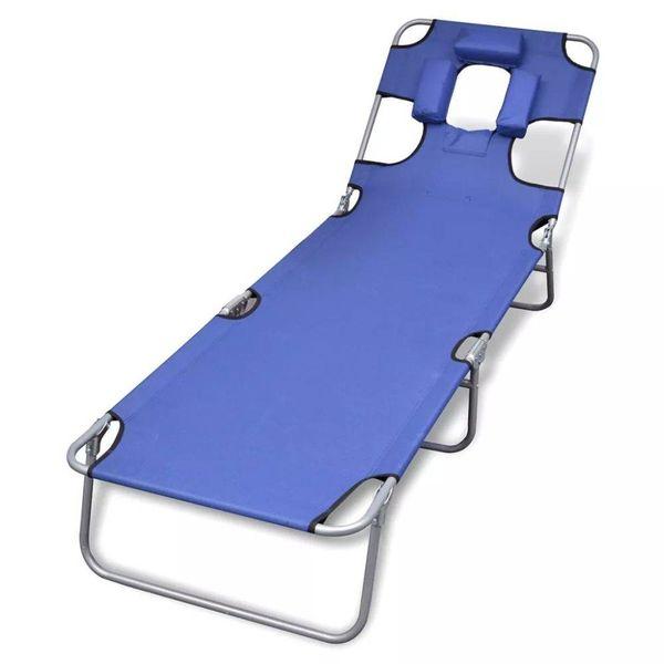 Ligbed inklapbaar met hoofdkussen gepoedercoat staal blauw
