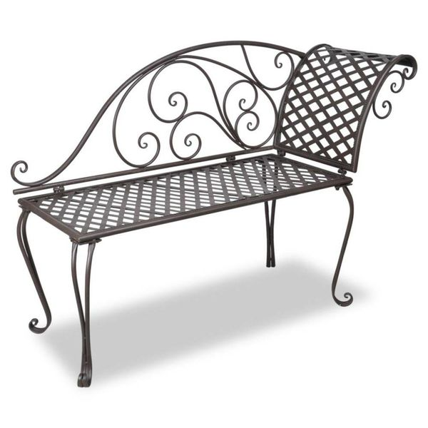Chaise longue 128 cm staal antiek bruin