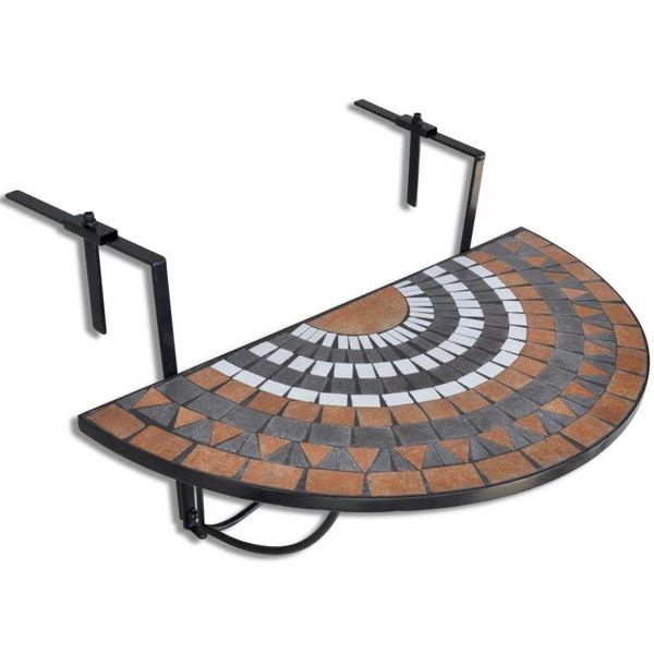 Balkontafel hangend mozaïek terracotta-wit half-rond