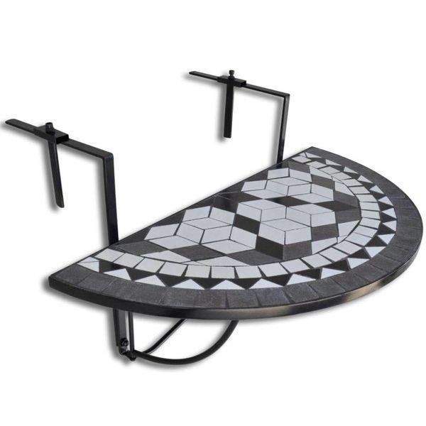 Balkontafel hangend mozaïek zwart-wit half-rond