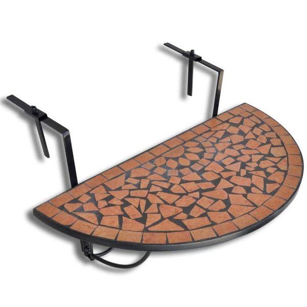Balkontafel hangend mozaïek terracotta half-rond