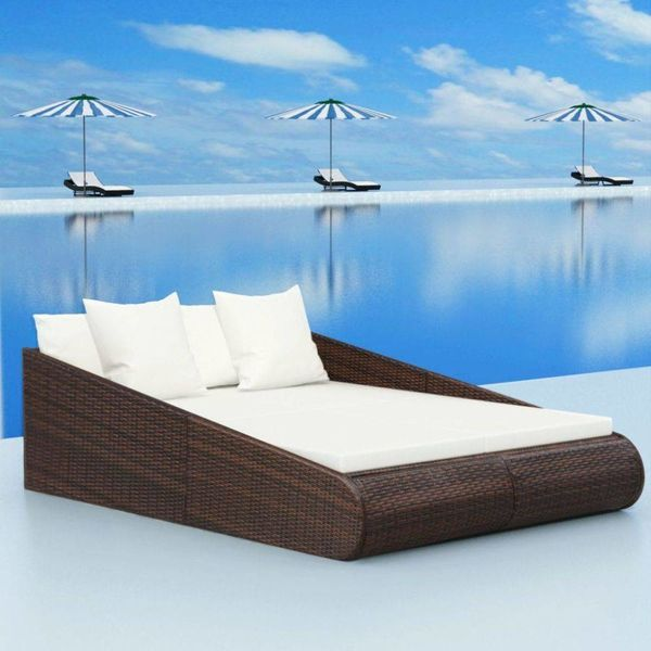 Loungebed bruin 201x139x58 poly rattan
