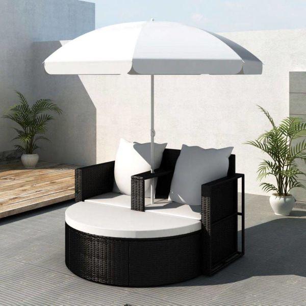 Loungebed set poly rattan met parasol (zwart)