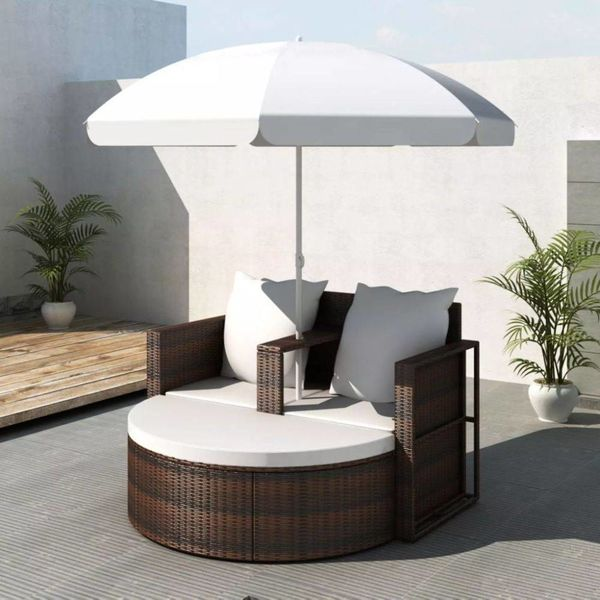Loungeset met parasol poly rattan bruin