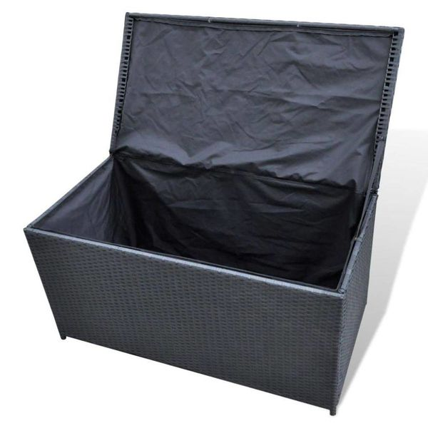 Zwarte wicker opbergbox 116 x 60 x 60 cm