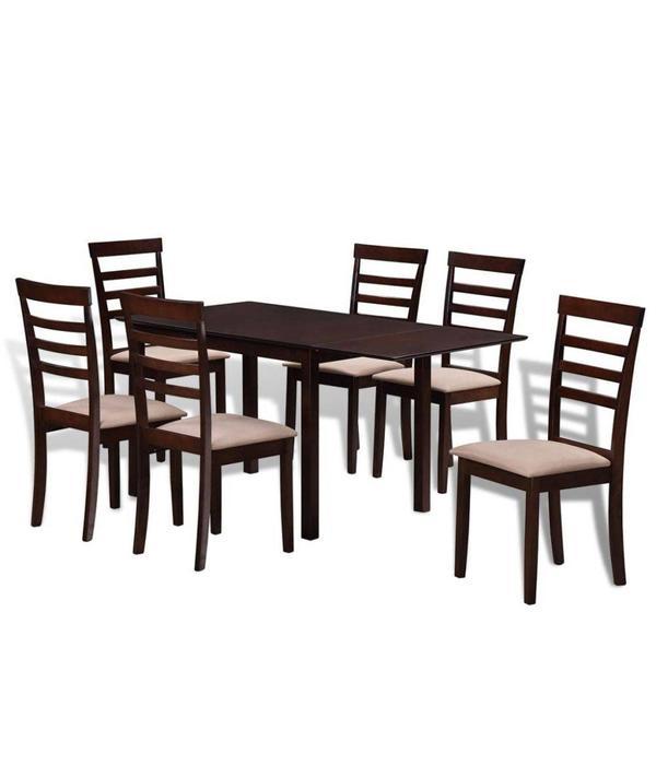 Teakhouten Eettafel Met 6 Teakhouten Stoelen.Vidaxl Houten Uitschuifbare Eettafel Set Met 6 Stoelen Bruin En