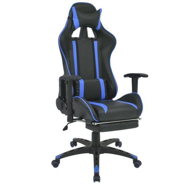 Bureau-/gamestoel verstelbaar met voetensteun blauw