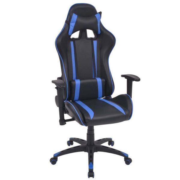 Bureau-/gamestoel verstelbaar kunstleer blauw