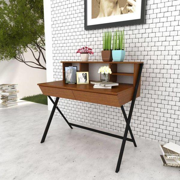 Bureau houten blad en stalen onderstel met 2 lades bruin