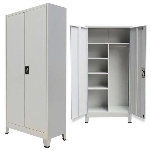 Lockerkast met 2 deuren staal 90x40x180 cm grijs