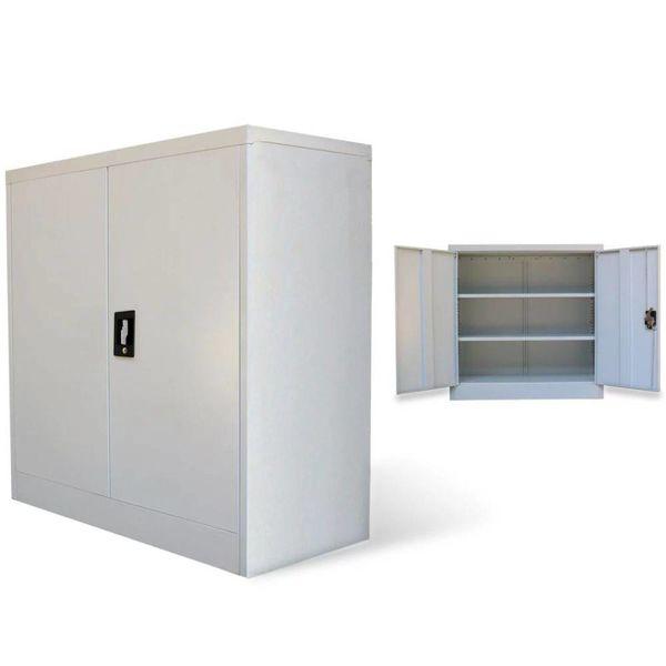 Kantoorkast met 2 deuren 90 cm staal grijs