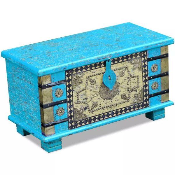 Opbergkist blauw mangohout 80x40x45 cm