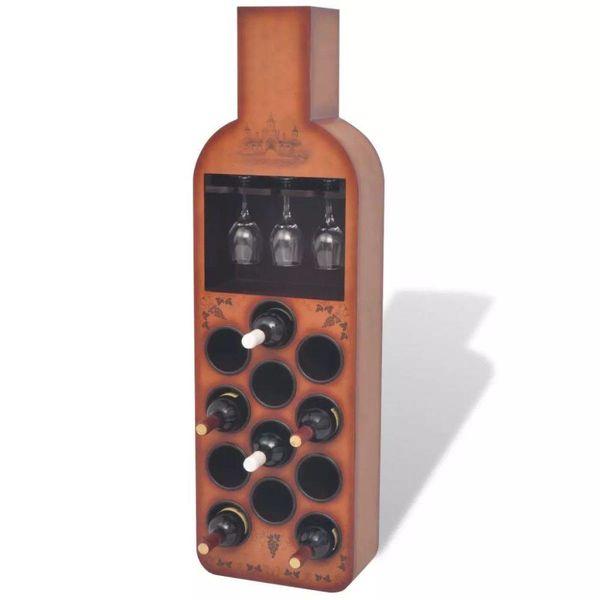 Wijnrek flesvormig bruin 12 flessen