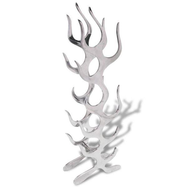 Wijnrek vlammenvorm 9 flessen zilver aluminium