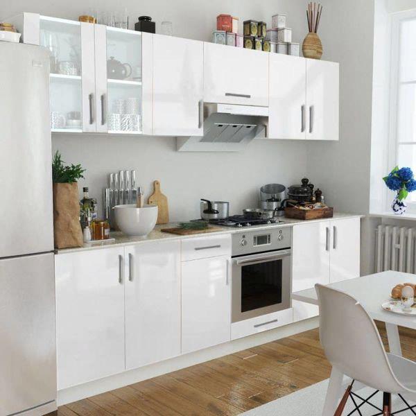 Keukenkastenset 260 cm hoogglans wit 8-delig