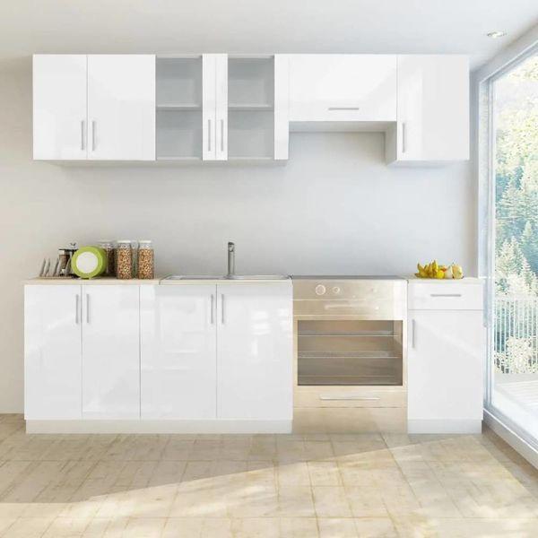 Keukenkastenset 240 cm hoogglans wit 7-delig