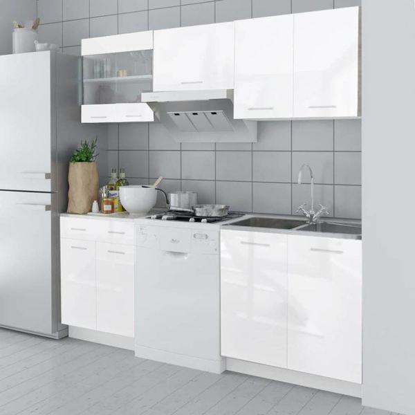 Keukenkastenset 200 cm hoogglans wit 5-delig